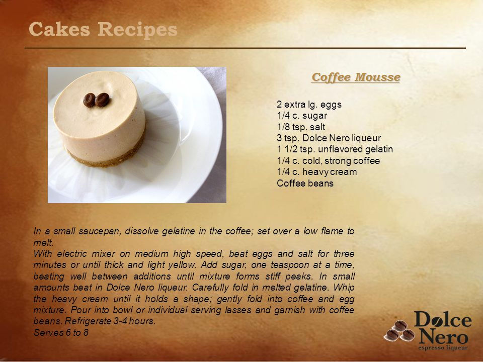 Coffee Mousse 2 extra lg. eggs 1/4 c. sugar 1/8 tsp. salt 3 tsp. Dolce Nero liqueur 1 1/2 tsp. unflavored gelatin 1/4 c. cold, strong coffee 1/4 c. he