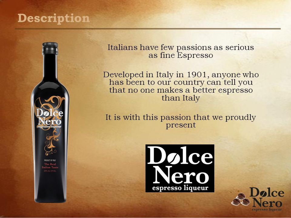 Description Italians have few passions as serious as fine Espresso Developed in Italy in 1901, anyone who has been to our country can tell you that no