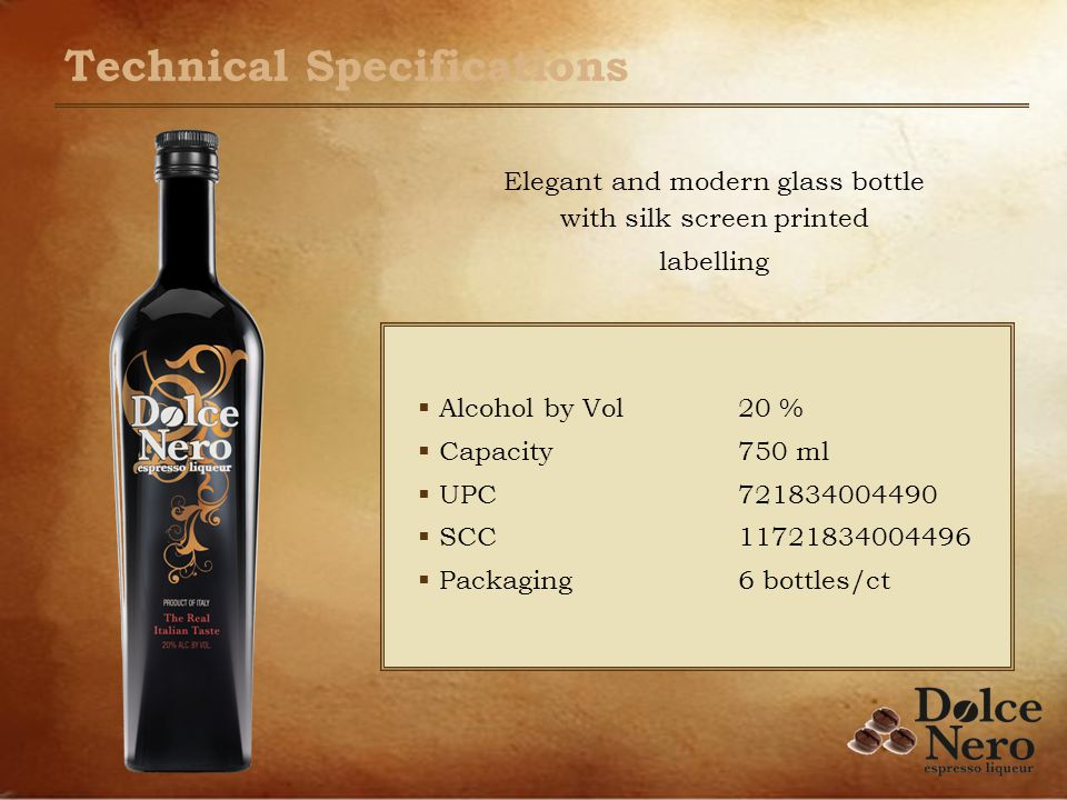 Technical Specifications Alcohol by Vol 20 % Capacity750 ml UPC721834004490 SCC11721834004496 Packaging6 bottles/ct Elegant and modern glass bottle with silk screen printed labelling