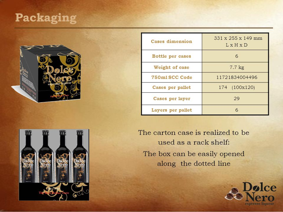 Packaging Cases dimension 331 x 255 x 149 mm L x H x D Bottle per cases 6 Weight of case 7.7 kg 750ml SCC Code 11721834004496 Cases per pallet 174 (100x120) Cases per layer 29 Layers per pallet 6 The carton case is realized to be used as a rack shelf: The box can be easily opened along the dotted line