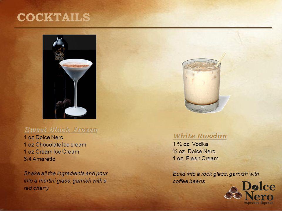 White Russian White Russian 1 ¾ oz. Vodka ¾ oz. Dolce Nero 1 oz. Fresh Cream Build into a rock glass, garnish with coffee beans Sweet Black Frozen Swe