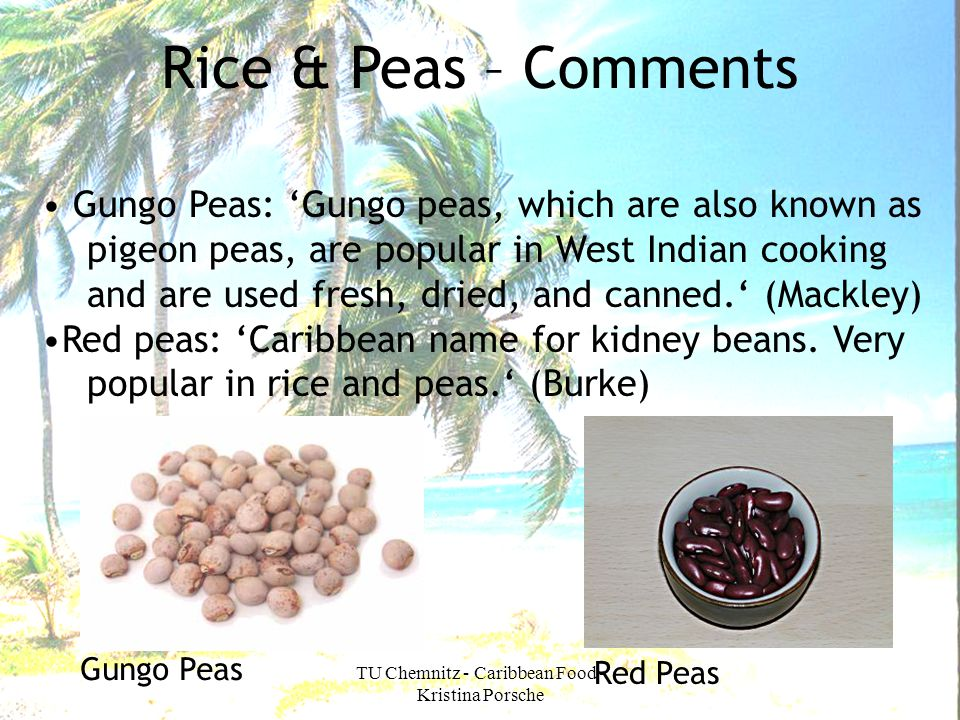 TU Chemnitz - Caribbean Food - Kristina Porsche Rice & Peas – Comments Gungo Peas: Gungo peas, which are also known as pigeon peas, are popular in Wes