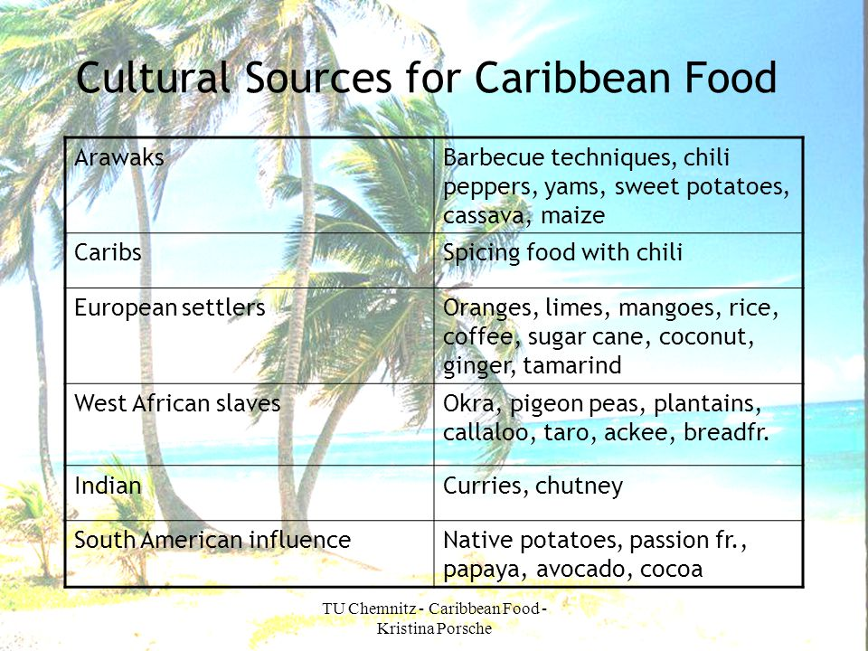 TU Chemnitz - Caribbean Food - Kristina Porsche Cultural Sources for Caribbean Food ArawaksBarbecue techniques, chili peppers, yams, sweet potatoes, c
