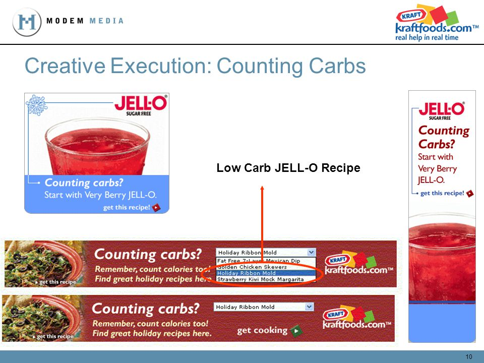 10 Creative Execution: Counting Carbs Low Carb JELL-O Recipe