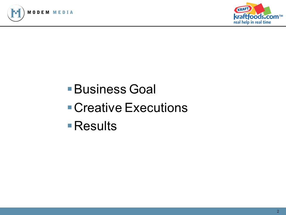 2 Business Goal Creative Executions Results