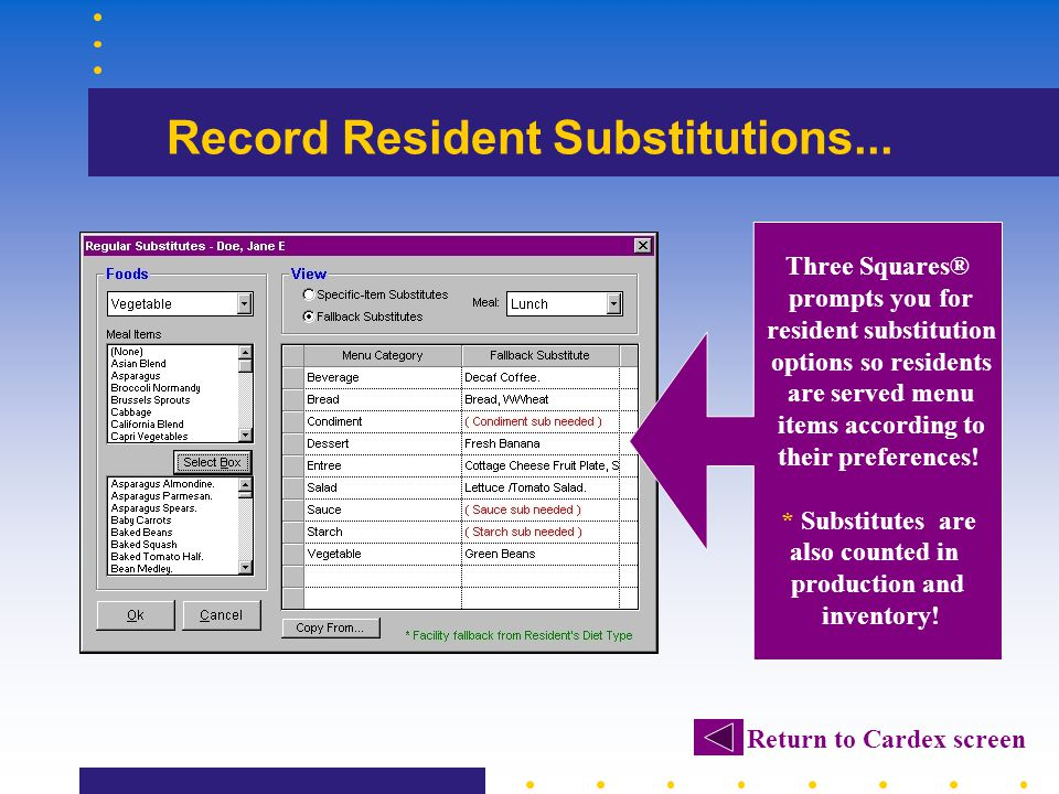 Record Resident Substitutions... Three Squares® prompts you for resident substitution options so residents are served menu items according to their pr