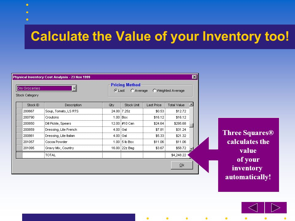 Calculate the Value of your Inventory too! Three Squares® calculates the value of your inventory automatically!