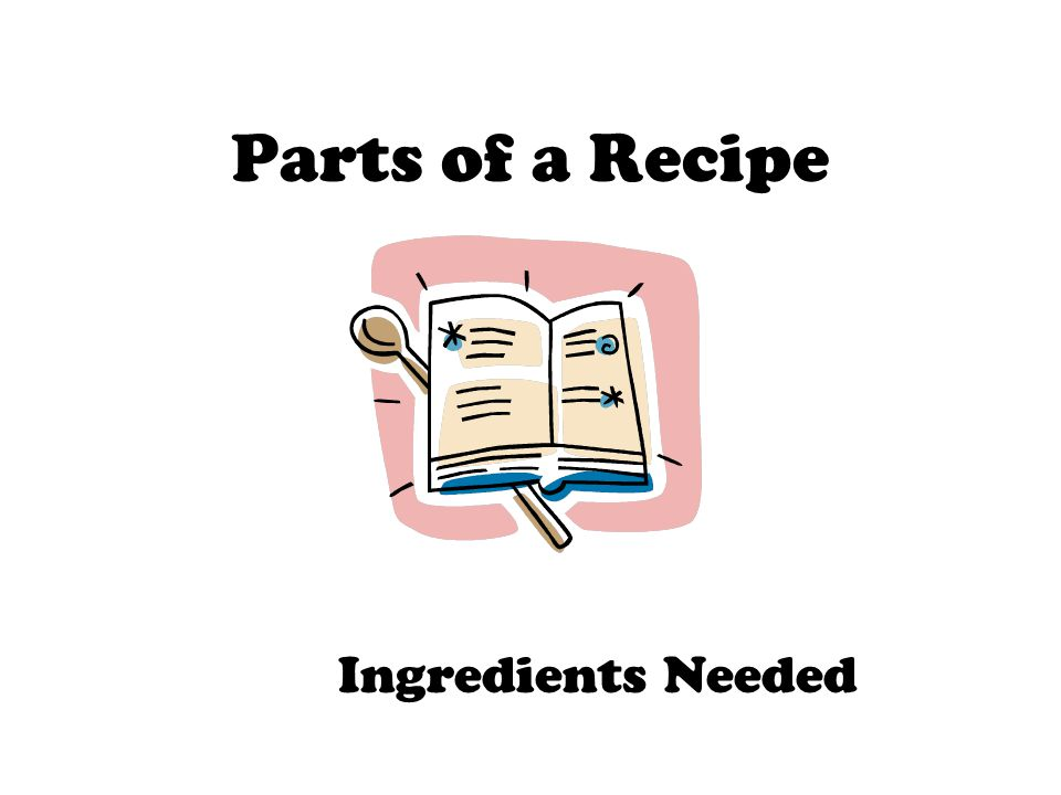 Parts of a Recipe Ingredients Needed