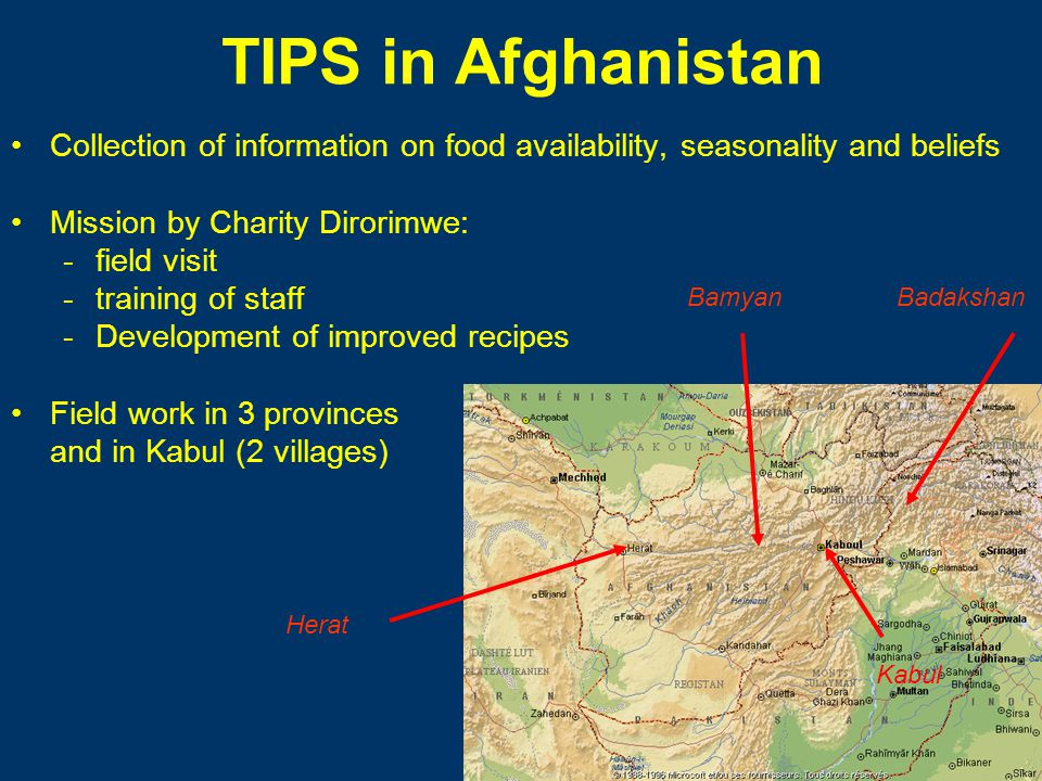 TIPS in Afghanistan Collection of information on food availability, seasonality and beliefs Mission by Charity Dirorimwe: -field visit -training of staff -Development of improved recipes Field work in 3 provinces and in Kabul (2 villages) Bamyan Herat Badakshan Kabul