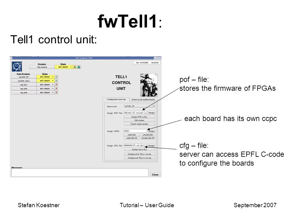 Stefan KoestnerTutorial – User GuideSeptember 2007 fwTell1 : Tell1 control unit: pof – file: stores the firmware of FPGAs cfg – file: server can access EPFL C-code to configure the boards each board has its own ccpc