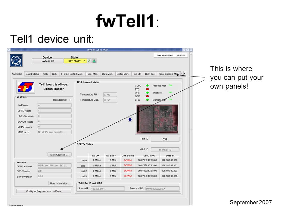Stefan KoestnerTutorial – User GuideSeptember 2007 fwTell1 : Tell1 device unit: This is where you can put your own panels!