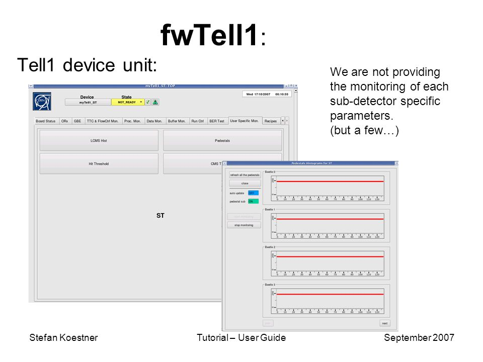 Stefan KoestnerTutorial – User GuideSeptember 2007 fwTell1 : Tell1 device unit: We are not providing the monitoring of each sub-detector specific parameters.