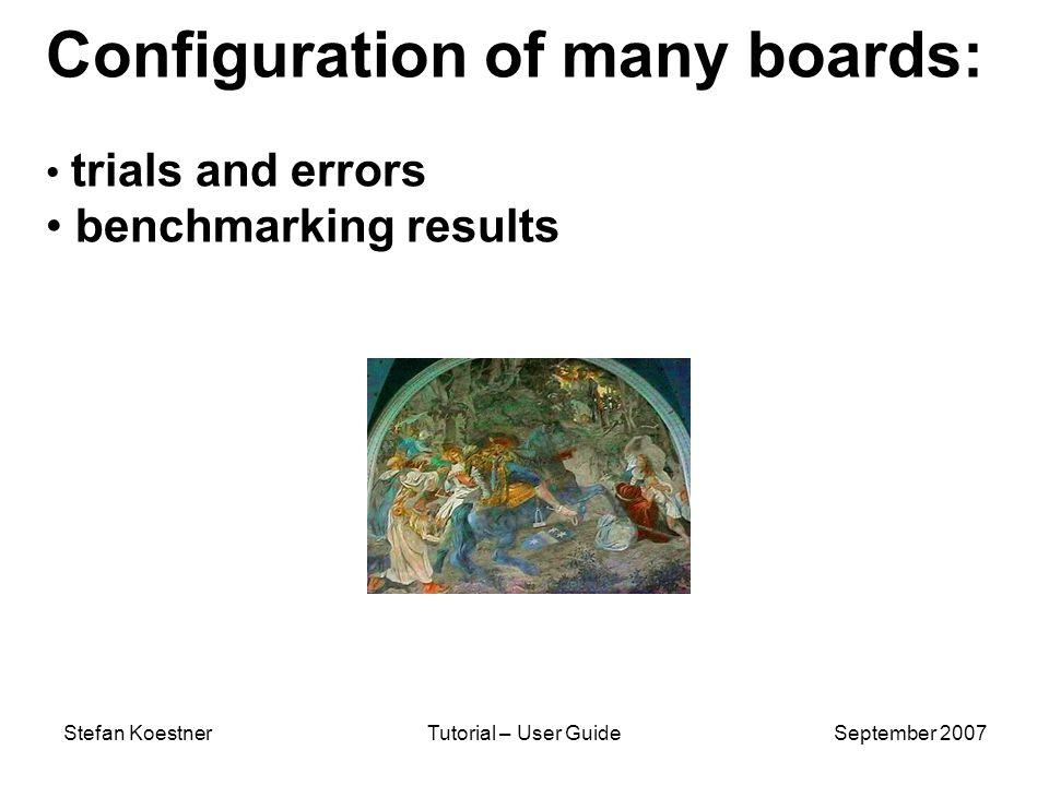 Stefan KoestnerTutorial – User GuideSeptember 2007 Configuration of many boards: trials and errors benchmarking results