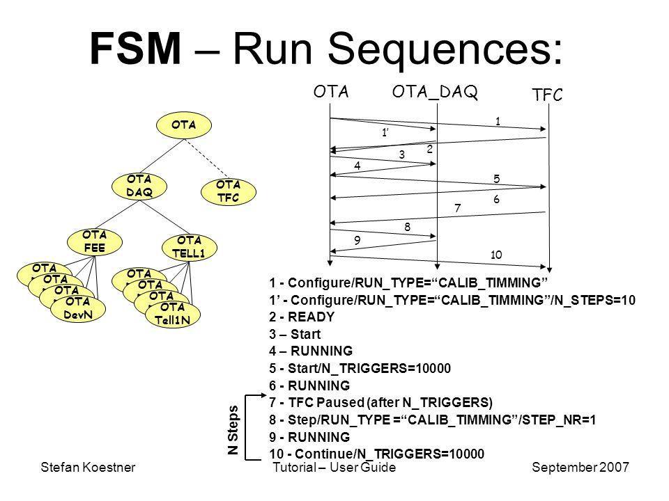Stefan KoestnerTutorial – User GuideSeptember 2007 FSM – Run Sequences: 1 - Configure/RUN_TYPE=CALIB_TIMMING 1 - Configure/RUN_TYPE=CALIB_TIMMING/N_STEPS=10 2 - READY 3 – Start 4 – RUNNING 5 - Start/N_TRIGGERS=10000 6 - RUNNING 7 - TFC Paused (after N_TRIGGERS) 8 - Step/RUN_TYPE =CALIB_TIMMING/STEP_NR=1 9 - RUNNING 10 - Continue/N_TRIGGERS=10000 OTAOTA_DAQ TFC 1 1 2 3 4 5 6 7 8 9 10 N Steps OTA DAQ OTA TFC OTA FEE OTA TELL1 OTA OTA Dev1 OTA DevN OTA Dev1 OTA Tell1N