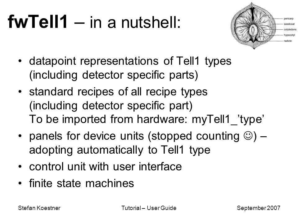 Stefan KoestnerTutorial – User GuideSeptember 2007 fwTell1 – in a nutshell: datapoint representations of Tell1 types (including detector specific parts) standard recipes of all recipe types (including detector specific part) To be imported from hardware: myTell1_type panels for device units (stopped counting ) – adopting automatically to Tell1 type control unit with user interface finite state machines