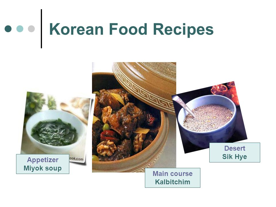 Korean Food Recipes Appetizer Miyok soup Main course Kalbitchim Desert Sik Hye