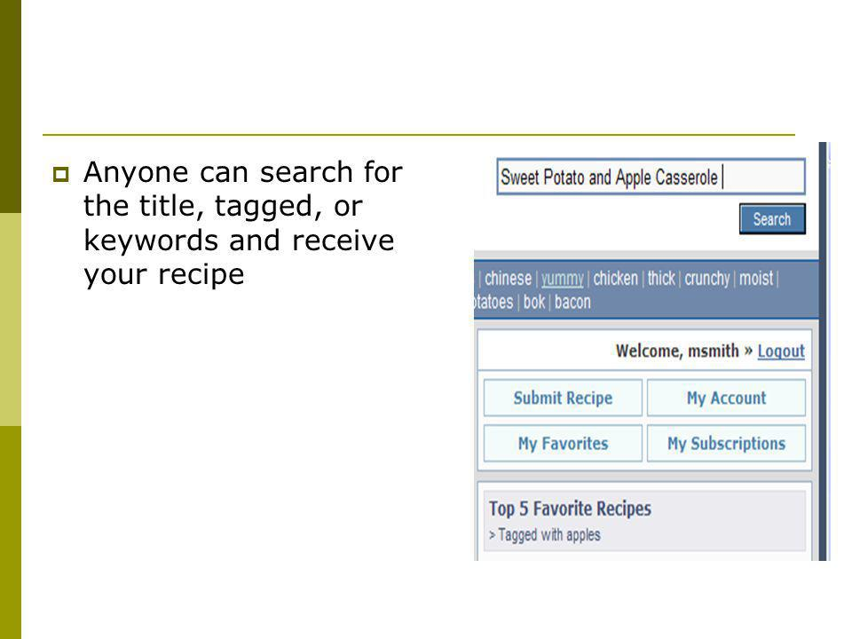 Anyone can search for the title, tagged, or keywords and receive your recipe