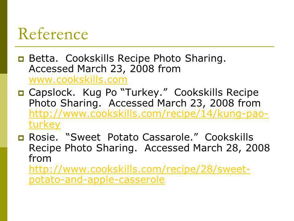 Reference Betta. Cookskills Recipe Photo Sharing.