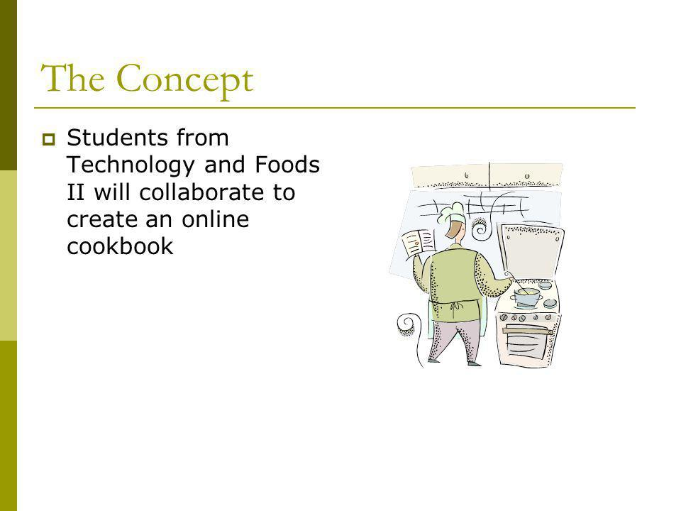 The Concept Students from Technology and Foods II will collaborate to create an online cookbook