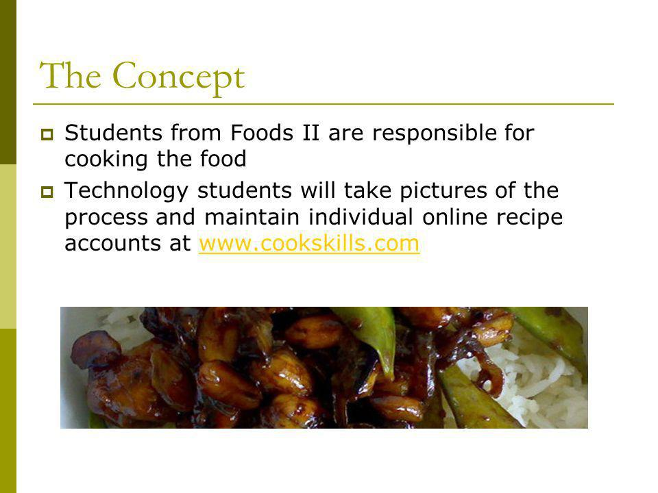 The Concept Students from Foods II are responsible for cooking the food Technology students will take pictures of the process and maintain individual