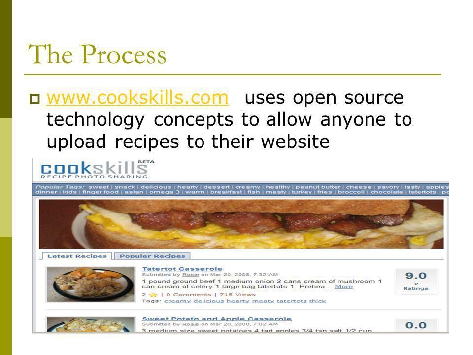 The Process www.cookskills.com uses open source technology concepts to allow anyone to upload recipes to their website www.cookskills.com