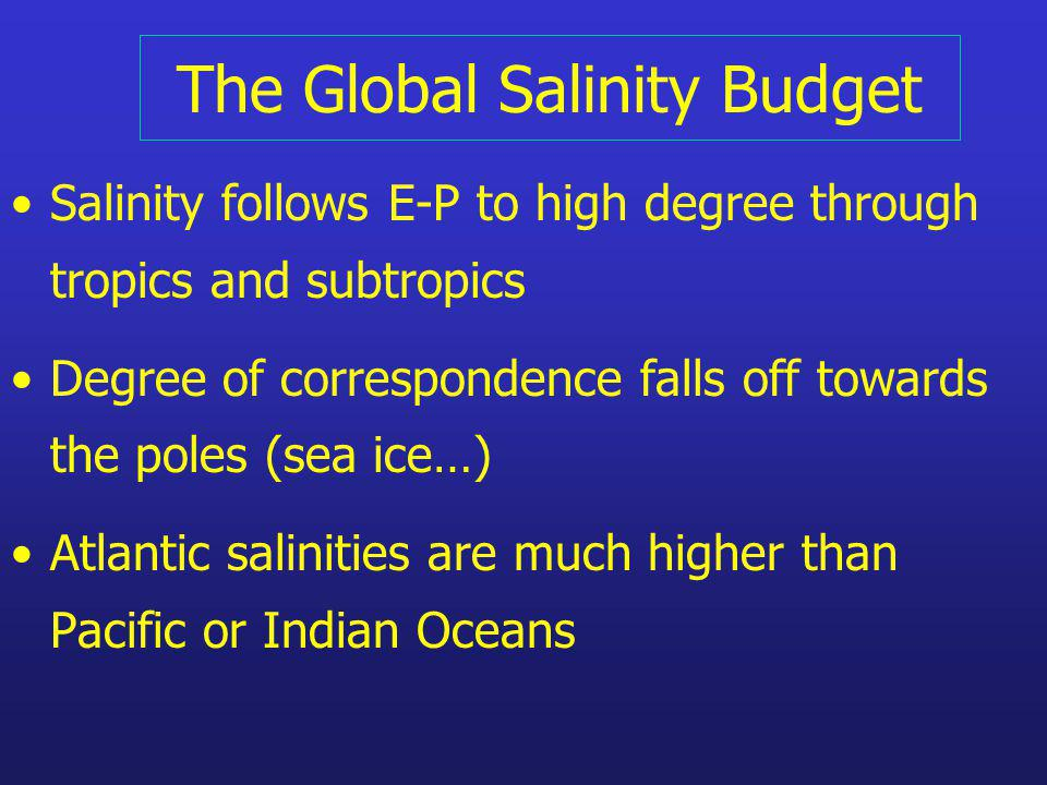 The Global Salinity Budget Salinity follows E-P to high degree through tropics and subtropics Degree of correspondence falls off towards the poles (se