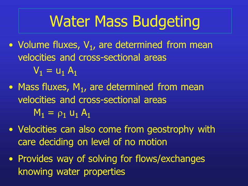 Volume Budgets Volume conservation (V 1 in m 3 /s or Sverdrup) Volume Flow @ 1 + Input= Volume Flow 2 V 1 + F = V 2 F = river + air/sea exchange