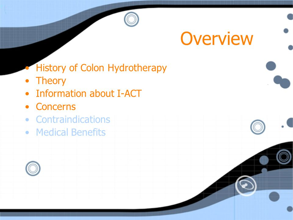 History Colon Hydrotherapy is the natural evolution of the enema The enema was first recorded in ancient Egyptian documents Also mentioned in the writings of Great Civilizations Sumerians Chinese Hindus Greeks Romans Hamiltons Colon Hydrotherapy is the natural evolution of the enema The enema was first recorded in ancient Egyptian documents Also mentioned in the writings of Great Civilizations Sumerians Chinese Hindus Greeks Romans Hamiltons