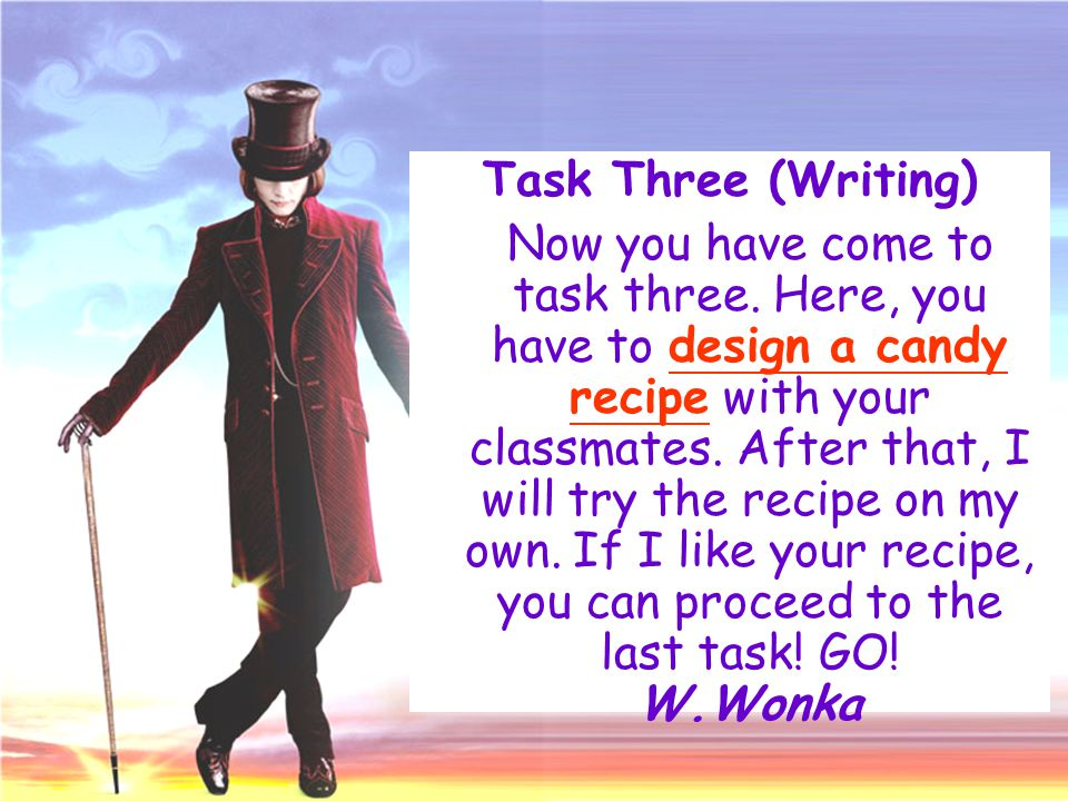 Task Three (Writing) Now you have come to task three. Here, you have to design a candy recipe with your classmates. After that, I will try the recipe