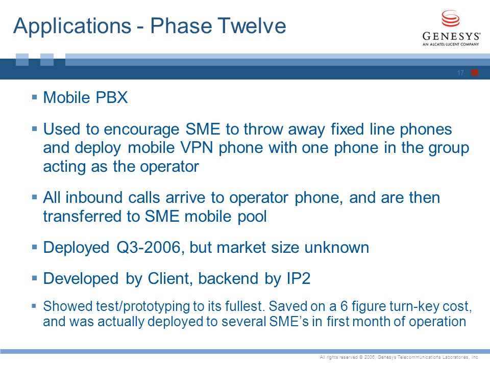 All rights reserved © 2006, Genesys Telecommunications Laboratories, Inc. Applications - Phase Twelve Mobile PBX Used to encourage SME to throw away f
