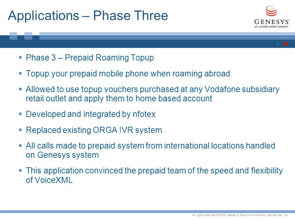All rights reserved © 2006, Genesys Telecommunications Laboratories, Inc. Applications – Phase Three Phase 3 – Prepaid Roaming Topup Topup your prepai