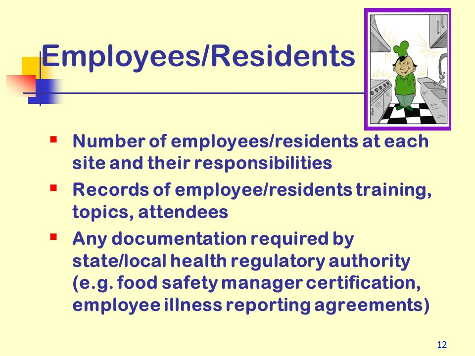 12 Employees/Residents Number of employees/residents at each site and their responsibilities Records of employee/residents training, topics, attendees