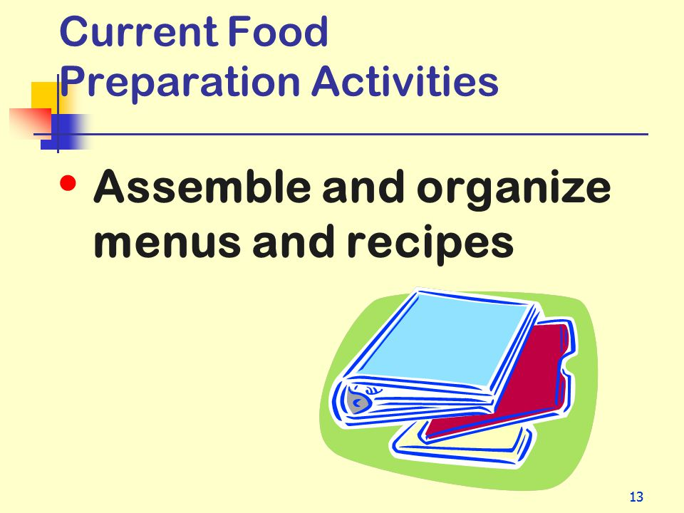 13 Current Food Preparation Activities Assemble and organize menus and recipes