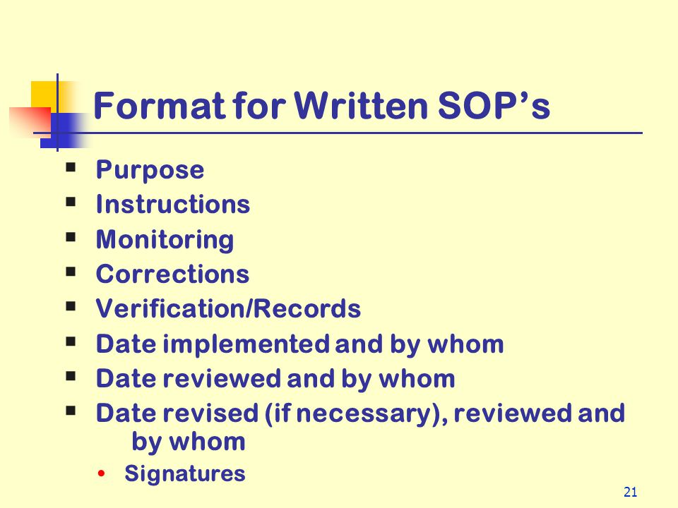 21 Format for Written SOPs Purpose Instructions Monitoring Corrections Verification/Records Date implemented and by whom Date reviewed and by whom Dat