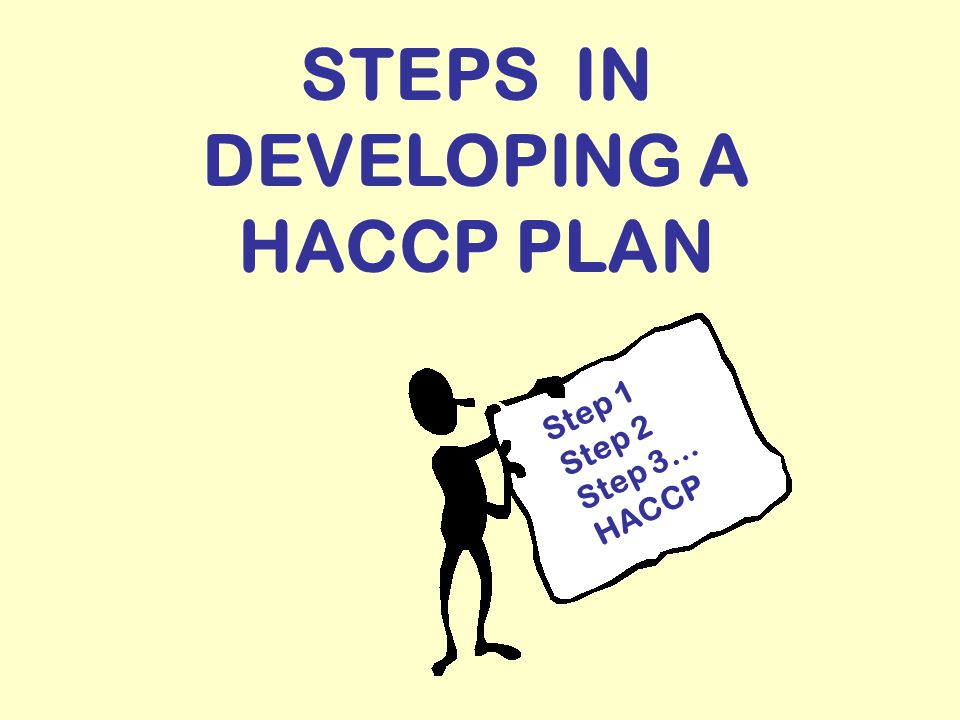 STEPS IN DEVELOPING A HACCP PLAN Step 1 Step 2 Step 3… HACCP