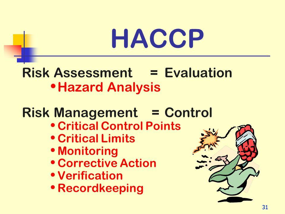 31 HACCP Risk Assessment =Evaluation Hazard Analysis Risk Management = Control Critical Control Points Critical Limits Monitoring Corrective Action Ve