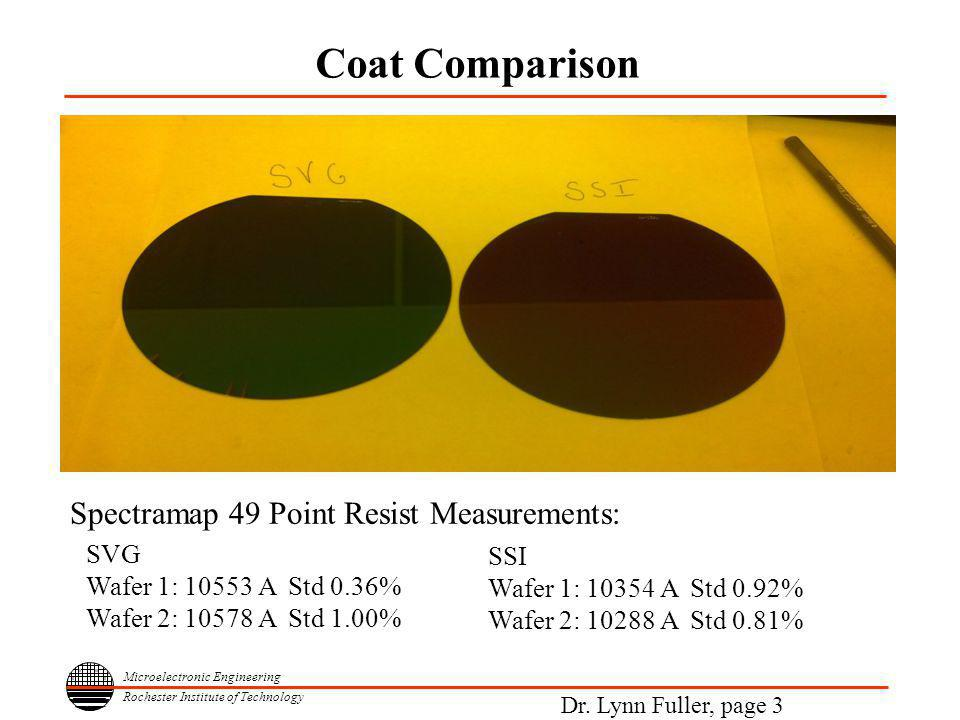 Microelectronic Engineering Rochester Institute of Technology Dr. Lynn Fuller, page 3 Coat Comparison SVG Wafer 1: 10553 A Std 0.36% Wafer 2: 10578 A