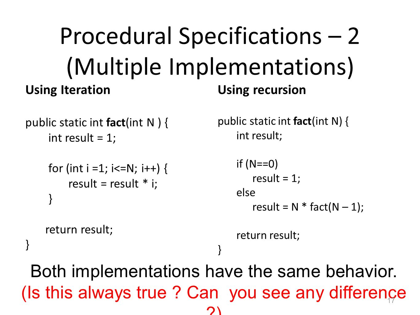 Procedural Specifications – 2 (Multiple Implementations) Using Iteration public static int fact(int N ) { int result = 1; for (int i =1; i<=N; i++) {