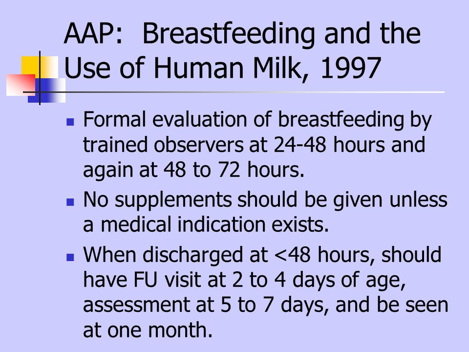 AAP: Breastfeeding and the Use of Human Milk, 1997 Formal evaluation of breastfeeding by trained observers at 24-48 hours and again at 48 to 72 hours.