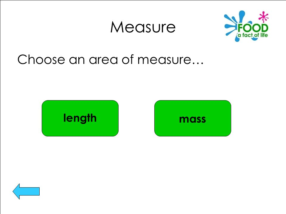 Measure Choose an area of measure… length mass