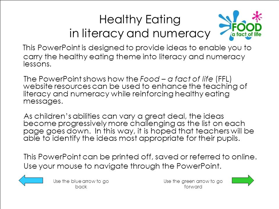 Healthy Eating in literacy and numeracy This PowerPoint is designed to provide ideas to enable you to carry the healthy eating theme into literacy and