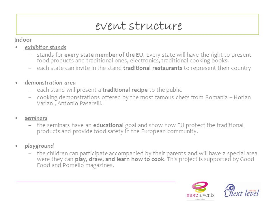 event structure indoor exhibitor stands –stands for every state member of the EU.