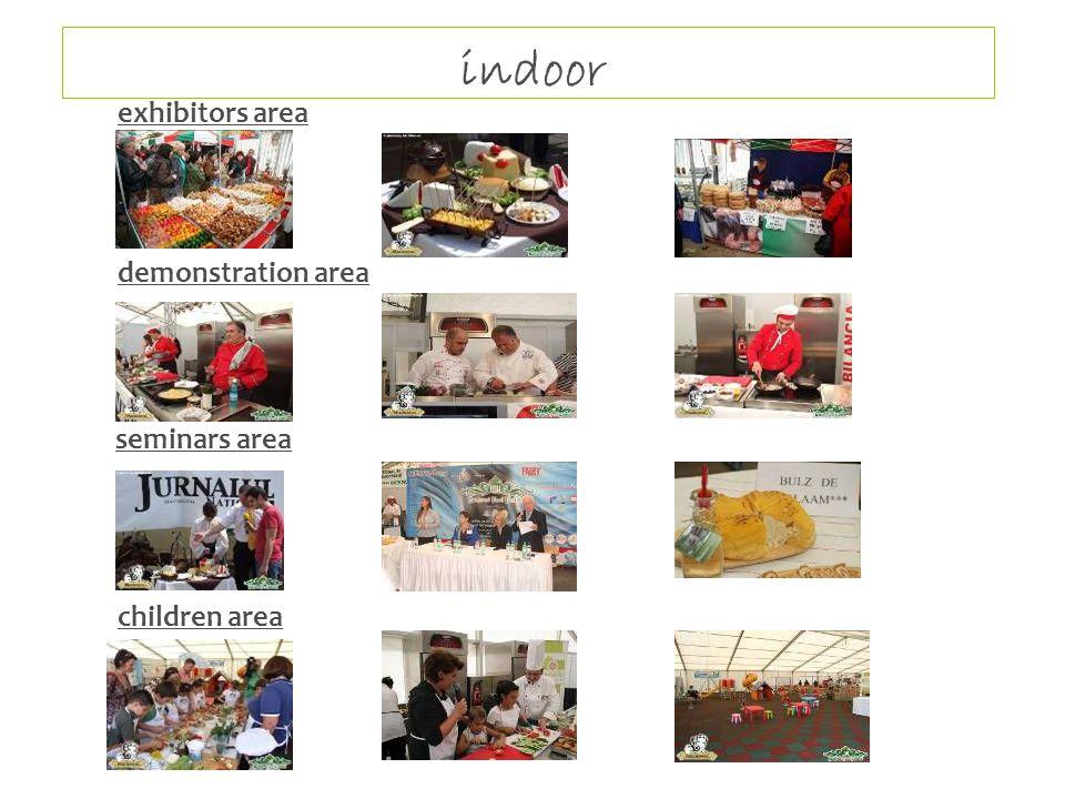 indoor exhibitors area demonstration area seminars area children area