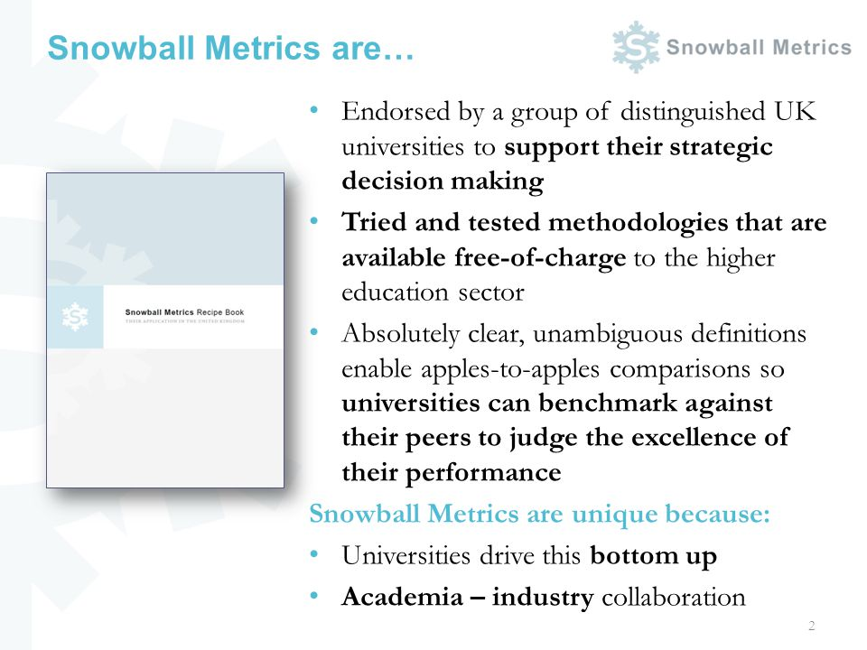 Snowball Metrics are… Endorsed by a group of distinguished UK universities to support their strategic decision making Tried and tested methodologies t