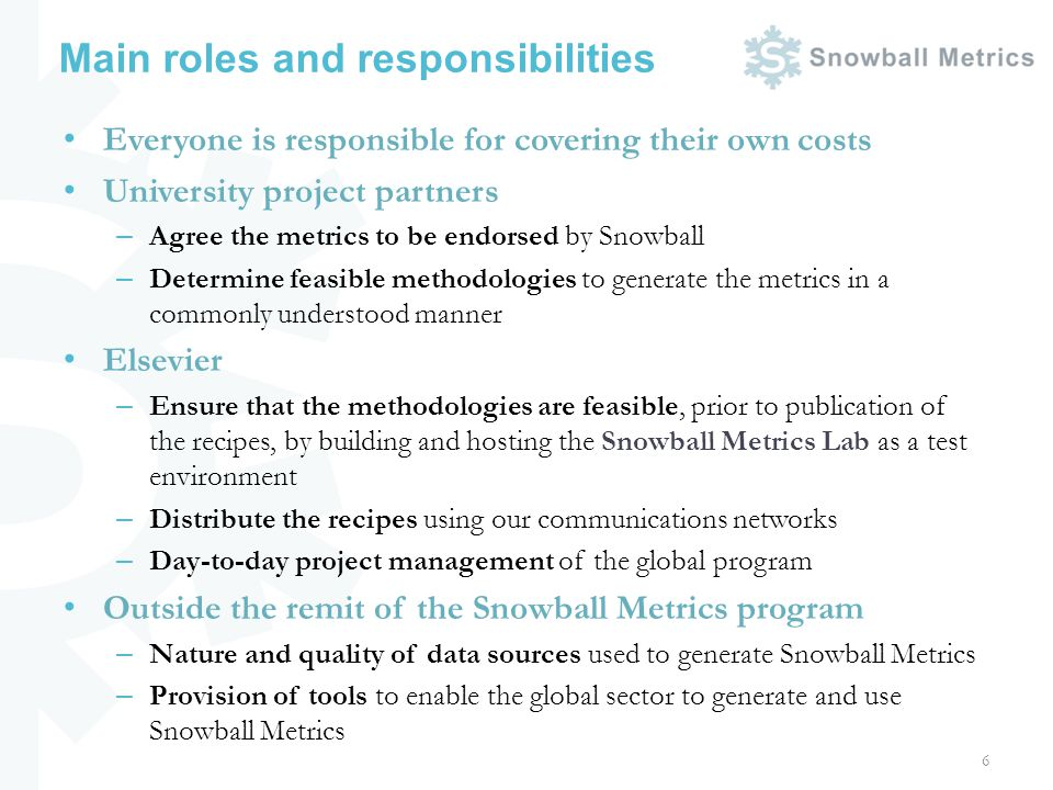 Main roles and responsibilities Everyone is responsible for covering their own costs University project partners – Agree the metrics to be endorsed by