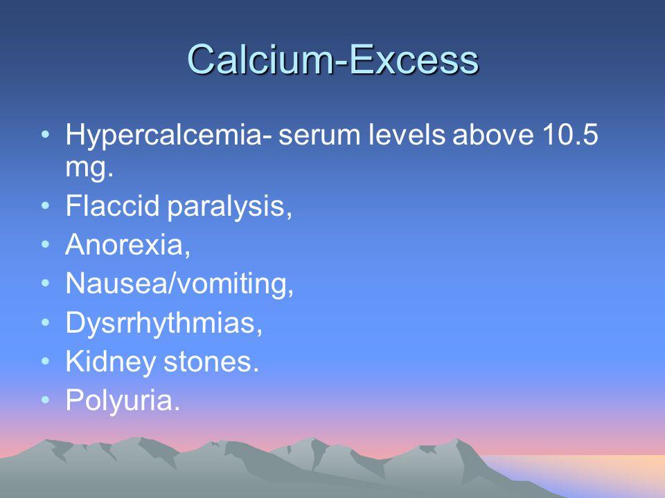 Calcium-Excess Hypercalcemia- serum levels above 10.5 mg. Flaccid paralysis, Anorexia, Nausea/vomiting, Dysrrhythmias, Kidney stones. Polyuria.