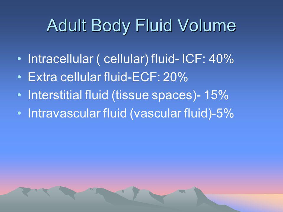 Adult Body Fluid Volume Intracellular ( cellular) fluid- ICF: 40% Extra cellular fluid-ECF: 20% Interstitial fluid (tissue spaces)- 15% Intravascular