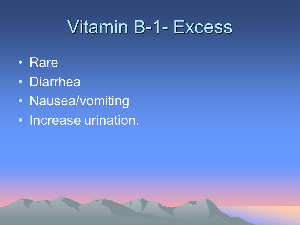 Vitamin B-1- Excess Rare Diarrhea Nausea/vomiting Increase urination.