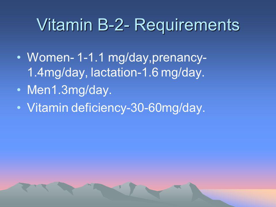 Vitamin B-2- Requirements Women- 1-1.1 mg/day,prenancy- 1.4mg/day, lactation-1.6 mg/day. Men1.3mg/day. Vitamin deficiency-30-60mg/day.