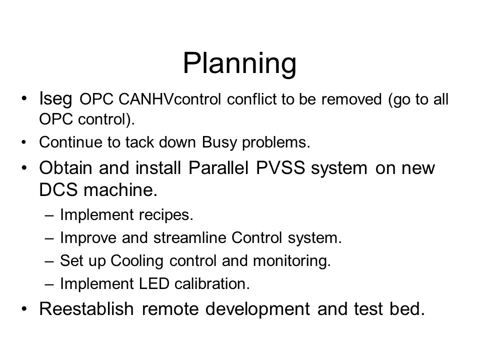 Planning Iseg OPC CANHVcontrol conflict to be removed (go to all OPC control).